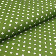 Bavlněné plátno olivové, bílé puntíky, š.140