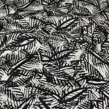 Bavlna biela, čierny vzor listy, š.145