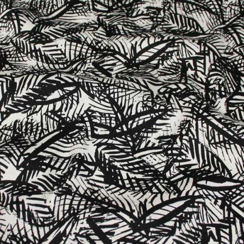 Bavlna bílá, černý vzor listy, š.145