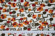 Úplet bílý, červeno-oranžové květy, š.145