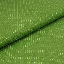 Bavlnené plátno zelené, biele bodky, š.140