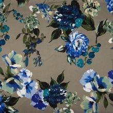 Bavlna sivohnedá, modré kvety, š.140