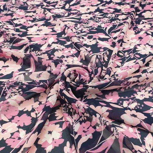 Šifón N5136 tmavomodrý, ružové kvety, š.145