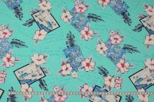 Bavlněná látka mint, květiny a pohlednice, š.150