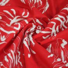 Košilovina červená, bílá výšivka, š.140