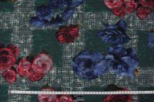 Kostýmovka zelená 15203, barevný květ, š.150