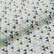 Bavlnené plátno krémové BW1542, farebné trojúheníky, š.145