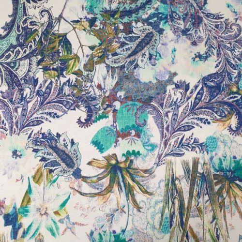 Úplet bílý, zeleno-modrý květinový vzor, š.160