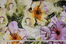 Úplet zelený 16977, fialový kvet, š.150