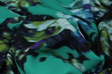 Šifón zelený, veľké kvety, š.145