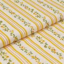 Bavlněné plátno, žluté pruhy, drobný květinový vzor, š.140