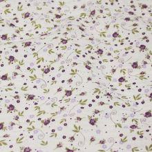 Bavlněný  krep bílý, drobný fialový květ, š.145