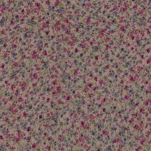 Šifon starorůžový, fialové a sytě růžové drobné květy, š.140