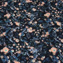 Úplet tmavomodrý, lososovo-zelené kvety, š.150