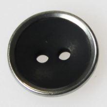 Knoflík černý s kovovým okrajem K24-2, průměr 15 mm.