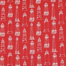 Dekoračná látka červená, biele majáky, š.140