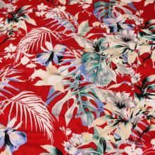 Úplet červený, barevné květy a listy, š.145