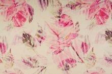 Len krémový, růžové listy, š.135