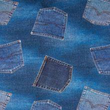 Úplet modrý, denimový vzor, š.150