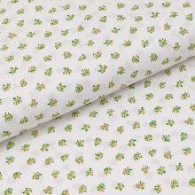 Bavlnené plátno biele, okrové drobné kytice, š.140
