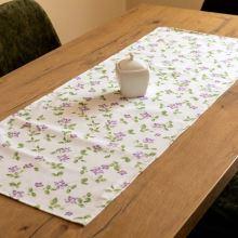 Štola krémová, fialové květy s lístečky, 40x100 cm