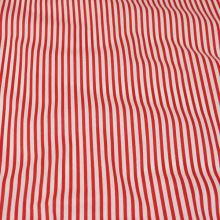 Bavlna červeno biele pruhy, š.140