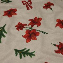 Vianočná látka béžová, červené kvety, š.140