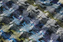 Úplet barevný, proplétaný modro-zelený vzor, š.150