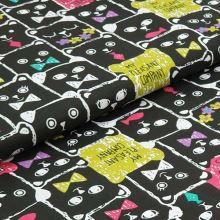 Bavlněné plátno černé, kočky a nápisy, š.140