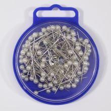 Špendlíky s bielou perleťovou hlavičkou 0,60x34mm, 10g