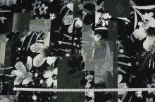 Úplet khaki, černobílý květ š.150