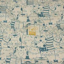 Dekoračná látka režná, tyrkysové mačky a žltý pes, š.140