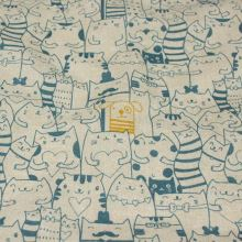 Dekorační látka režná,tyrkysové kočky a žlutý pes, š.140