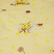 Bavlněný krep žlutý, motiv včelky, š.145