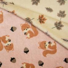 Obojstranný wellsoft ružový, veveričky, š.145