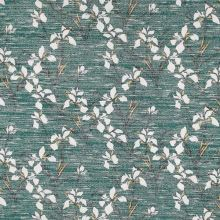 Svetrovina zelená, bílé květy, š.150