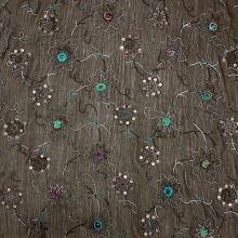 Šifon 09493 hnědý, barevná výšivka, flitry, š.140