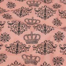 Bavlna lososová, vzor koruna a ornamenty, š.140