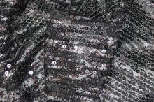 Flitry černé, stříbrnohnědý potisk, š.130