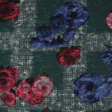 Kostýmovka zelená 15203, farebný kvet, š.150