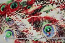 Bavlna barevná paví pera, zelená, š.150