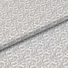 Bavlněné plátno bílé, šedé větvičky s ptáčky, š.140