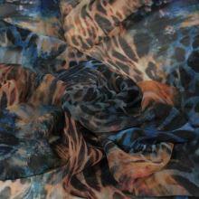 Šifon modrohnědý, zvířecí vzor š.145