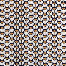 Úplet 20357 krémovo-modro-okrový geometrický vzor, š.170