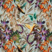 Úplet 22035 mint, barevné květy s kolibříky, š.150
