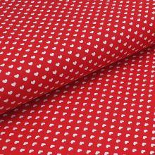 Bavlněné plátno červené, bílá srdíčka, š.140