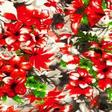 Teplákovina nepočesaná, červené a zelené kvety a listy, š.180