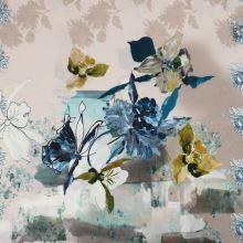 Svetrovina béžová, modrý kvet, panel, š.135