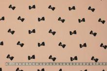 Bavlna lososová, černé mašličky, š.160