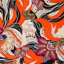Šatovka oranžová, farebný vzor, š.140
